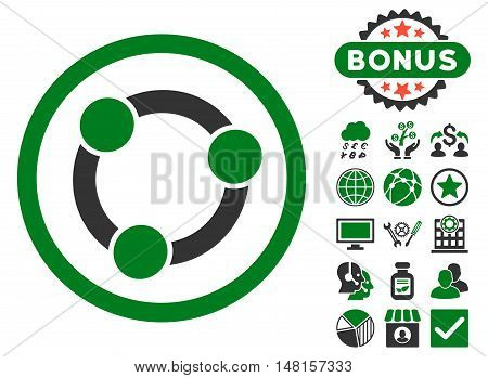 Collaboration icon with bonus images. Vector illustration style is flat iconic bicolor symbols, green and gray colors, white background.
