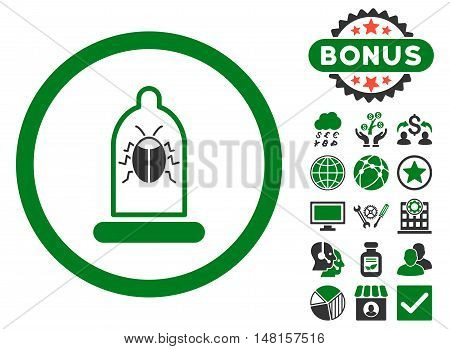 Condom Bug icon with bonus symbols. Vector illustration style is flat iconic bicolor symbols, green and gray colors, white background.