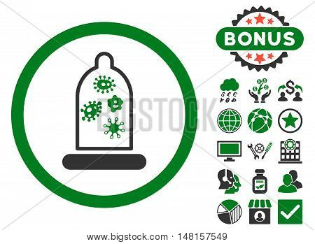 Condom Microbes icon with bonus design elements. Vector illustration style is flat iconic bicolor symbols, green and gray colors, white background.
