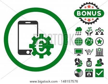 Configure Mobile Euro Bank icon with bonus images. Vector illustration style is flat iconic bicolor symbols, green and gray colors, white background.
