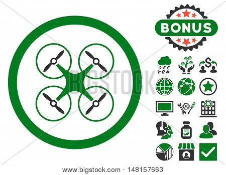 Copter icon with bonus images. Vector illustration style is flat iconic bicolor symbols, green and gray colors, white background.