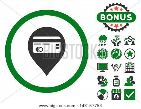 Credit Card Pointer icon with bonus pictures. Vector illustration style is flat iconic bicolor symbols, green and gray colors, white background.