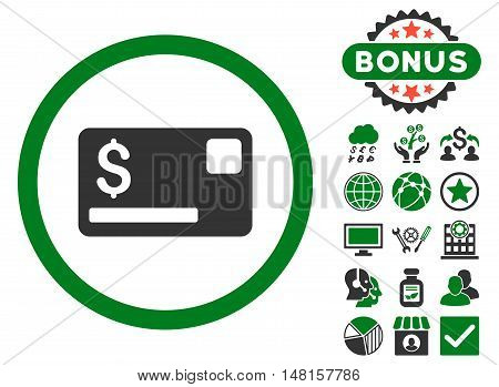 Credit Card icon with bonus elements. Vector illustration style is flat iconic bicolor symbols, green and gray colors, white background.