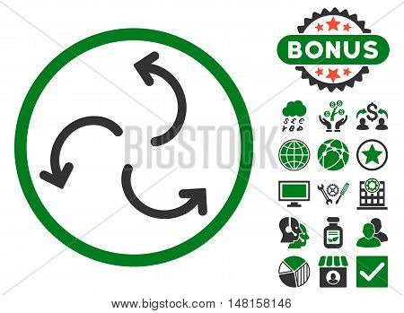 Cyclone Arrows icon with bonus images. Vector illustration style is flat iconic bicolor symbols, green and gray colors, white background.