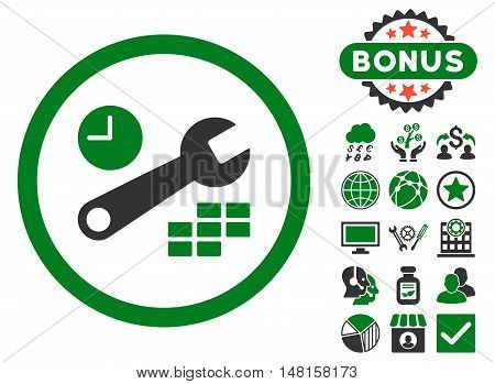 Date and Time Configuration icon with bonus pictogram. Vector illustration style is flat iconic bicolor symbols, green and gray colors, white background.