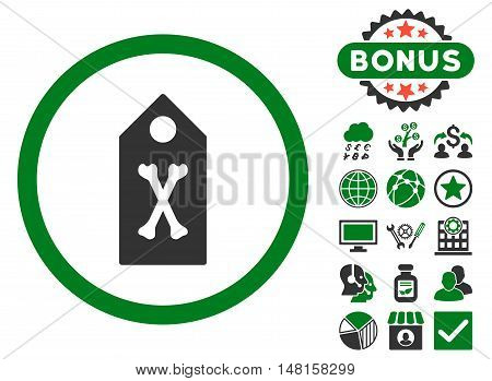 Dead Marker icon with bonus pictures. Vector illustration style is flat iconic bicolor symbols, green and gray colors, white background.
