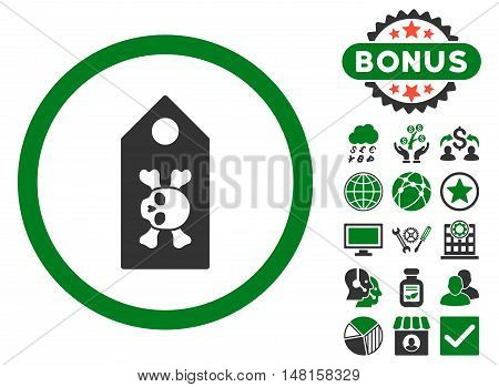 Death Label icon with bonus design elements. Vector illustration style is flat iconic bicolor symbols, green and gray colors, white background.