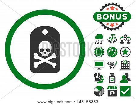 Death Sticker icon with bonus pictogram. Vector illustration style is flat iconic bicolor symbols, green and gray colors, white background.