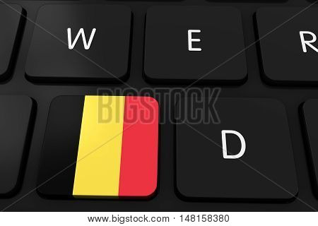 Belgian Flag Button On Black Computer Keyboard - 3D Illustration