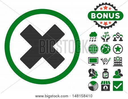 Delete X-Cross icon with bonus elements. Vector illustration style is flat iconic bicolor symbols, green and gray colors, white background.