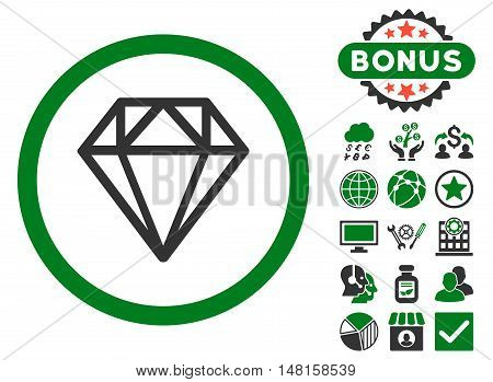 Diamond icon with bonus images. Vector illustration style is flat iconic bicolor symbols, green and gray colors, white background.