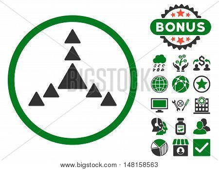 Direction Triangles icon with bonus images. Vector illustration style is flat iconic bicolor symbols, green and gray colors, white background.