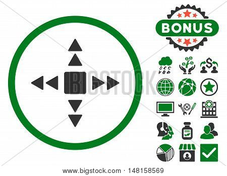 Direction Triangles icon with bonus pictogram. Vector illustration style is flat iconic bicolor symbols, green and gray colors, white background.