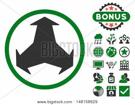 Directions icon with bonus symbols. Vector illustration style is flat iconic bicolor symbols, green and gray colors, white background.