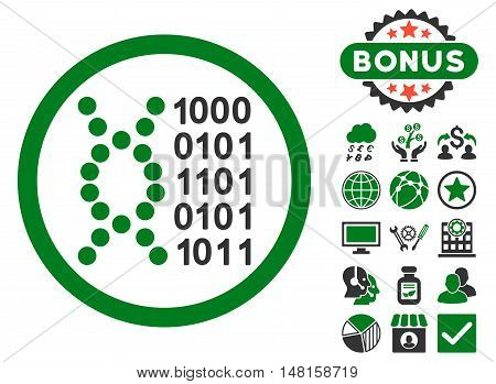 DNA Code icon with bonus images. Vector illustration style is flat iconic bicolor symbols, green and gray colors, white background.