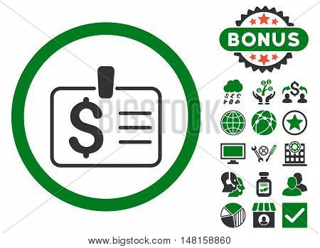 Dollar Badge icon with bonus pictures. Vector illustration style is flat iconic bicolor symbols, green and gray colors, white background.