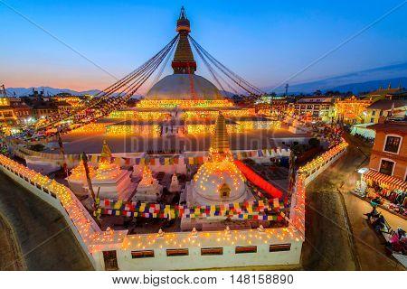 Beautiful of boudhanath stupa in twilight time at Kathmandu Nepal
