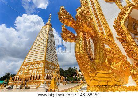 Beautiful pagoda Wat Phrathat Nong Bua Temple in sunshine day at Ubon Ratchathani Thailand