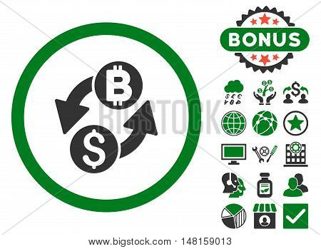 Dollar Bitcoin Exchange icon with bonus design elements. Vector illustration style is flat iconic bicolor symbols, green and gray colors, white background.