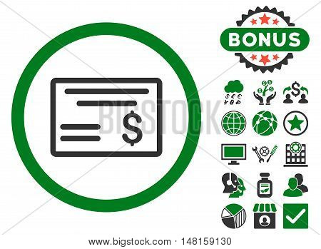 Dollar Cheque icon with bonus pictogram. Vector illustration style is flat iconic bicolor symbols, green and gray colors, white background.