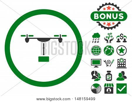 Drone Shipment icon with bonus pictogram. Vector illustration style is flat iconic bicolor symbols, green and gray colors, white background.