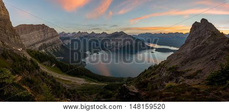 Panorama of Kananaskis lakes at sunrise from sarrail ridge summer