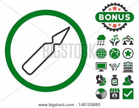 Empty Ampoule icon with bonus elements. Vector illustration style is flat iconic bicolor symbols, green and gray colors, white background.