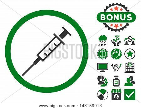 Empty Syringe icon with bonus design elements. Vector illustration style is flat iconic bicolor symbols, green and gray colors, white background.