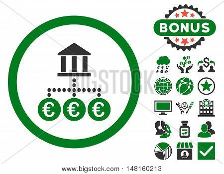 Euro Bank Transactions icon with bonus images. Vector illustration style is flat iconic bicolor symbols, green and gray colors, white background.