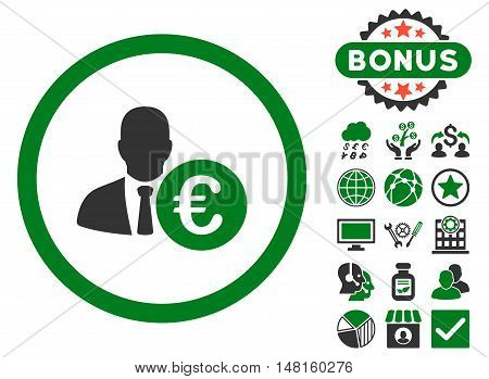 Euro Banker icon with bonus elements. Vector illustration style is flat iconic bicolor symbols, green and gray colors, white background.