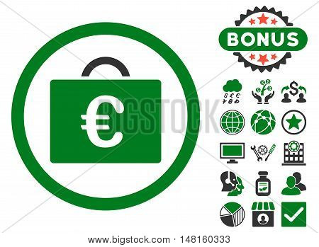 Euro Bookkeeping Case icon with bonus design elements. Vector illustration style is flat iconic bicolor symbols, green and gray colors, white background.