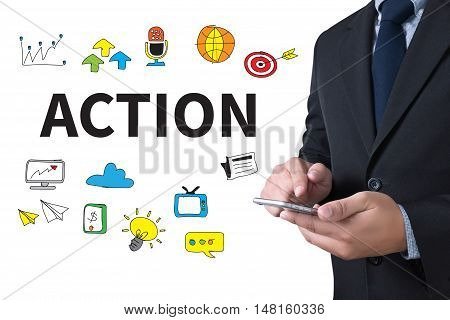 ACTION businessman working use smartphone man work use computer