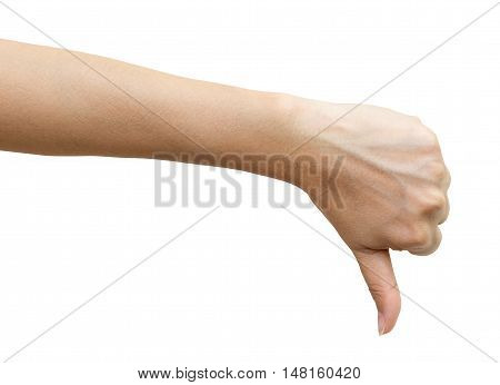 Female hand signaling thumb down isolated on white background clipping path included.