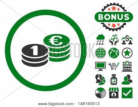 Euro Coin Columns icon with bonus design elements. Vector illustration style is flat iconic bicolor symbols, green and gray colors, white background.