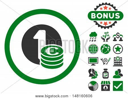 Euro Coins icon with bonus pictogram. Vector illustration style is flat iconic bicolor symbols, green and gray colors, white background.