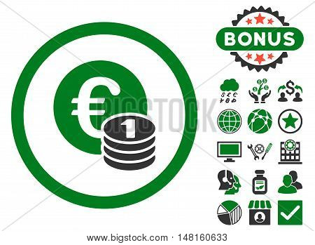 Euro Coins icon with bonus design elements. Vector illustration style is flat iconic bicolor symbols, green and gray colors, white background.