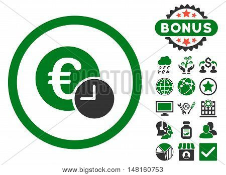 Euro Credit icon with bonus images. Vector illustration style is flat iconic bicolor symbols, green and gray colors, white background.
