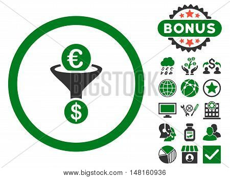 Euro Dollar Conversion Funnel icon with bonus images. Vector illustration style is flat iconic bicolor symbols, green and gray colors, white background.