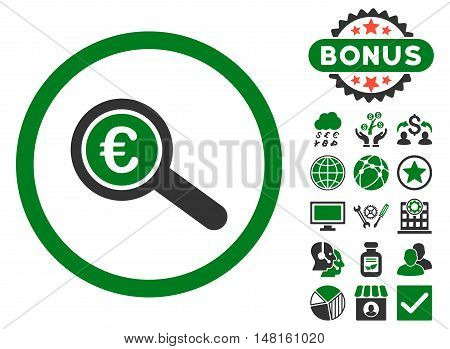 Euro Financial Audit icon with bonus design elements. Vector illustration style is flat iconic bicolor symbols, green and gray colors, white background.