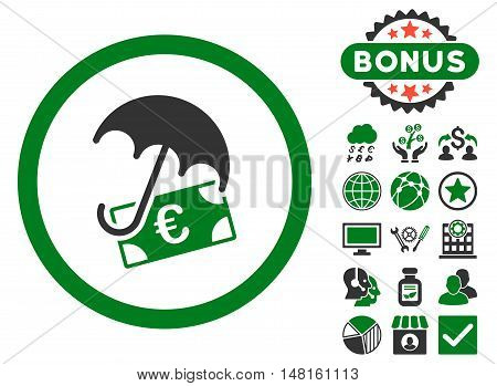 Euro Financial Umbrella icon with bonus symbols. Vector illustration style is flat iconic bicolor symbols, green and gray colors, white background.