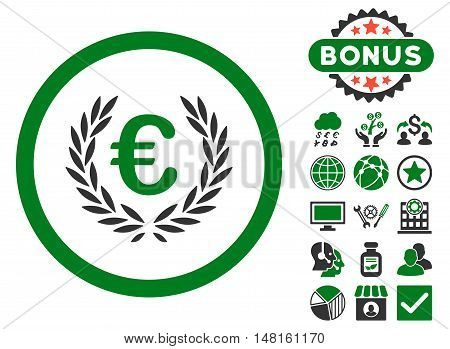 Euro Glory icon with bonus symbols. Vector illustration style is flat iconic bicolor symbols, green and gray colors, white background.