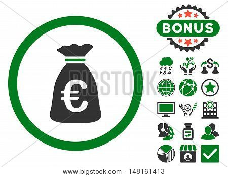 Euro Money Bag icon with bonus symbols. Vector illustration style is flat iconic bicolor symbols, green and gray colors, white background.