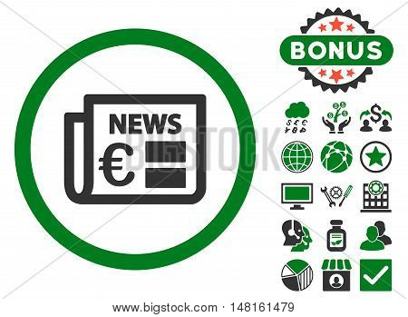 Euro Newspaper icon with bonus images. Vector illustration style is flat iconic bicolor symbols, green and gray colors, white background.