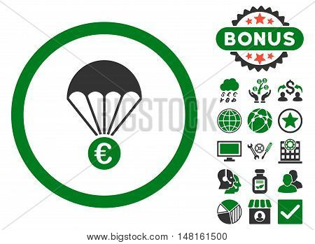 Euro Parachute icon with bonus pictogram. Vector illustration style is flat iconic bicolor symbols, green and gray colors, white background.