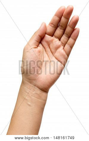 Hand open of man or women isolated on white background Clipping path included.