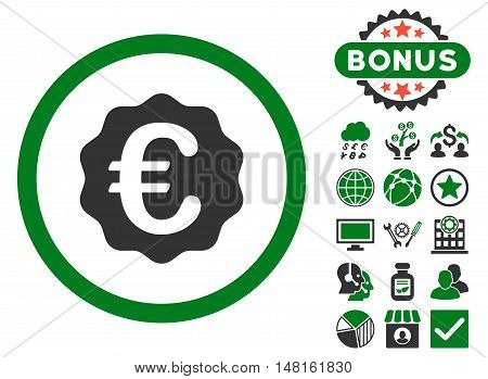 Euro Reward Seal icon with bonus images. Vector illustration style is flat iconic bicolor symbols, green and gray colors, white background.