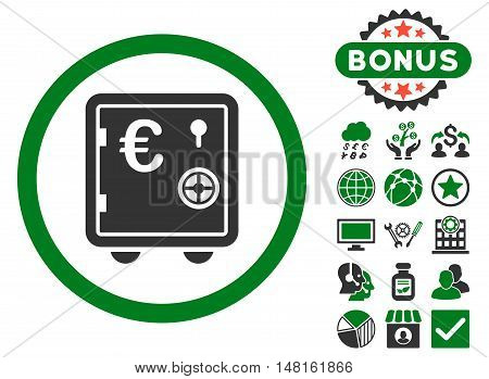 Euro Safe icon with bonus design elements. Vector illustration style is flat iconic bicolor symbols, green and gray colors, white background.