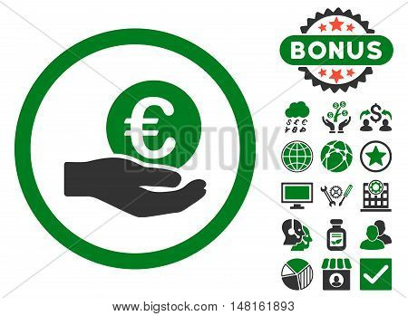 Euro Salary Hand icon with bonus elements. Vector illustration style is flat iconic bicolor symbols, green and gray colors, white background.