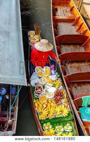 Top view Damnoen Saduak floating market in Ratchaburi near Bangkok Thailand