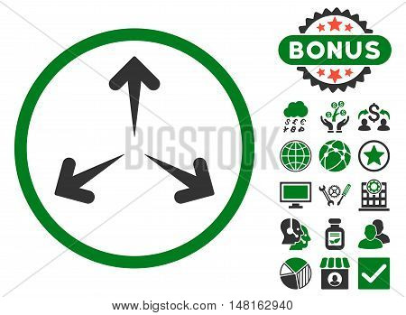 Expand Arrows icon with bonus elements. Vector illustration style is flat iconic bicolor symbols, green and gray colors, white background.